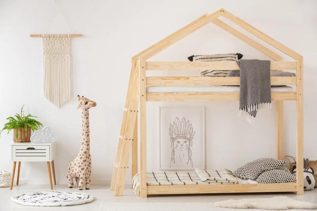 MAXMAX Detská posteľ z masívu Poschodová DOMČEK - TYP B 200x80 cm
