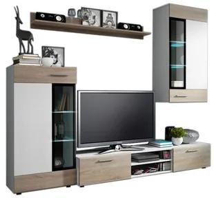 Obývacia stena ODYS  biela / dub sonoma