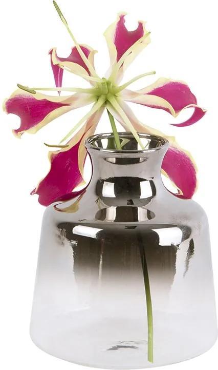 PRESENT TIME Sada 3 ks Sklenená váza Mini Silver Fade