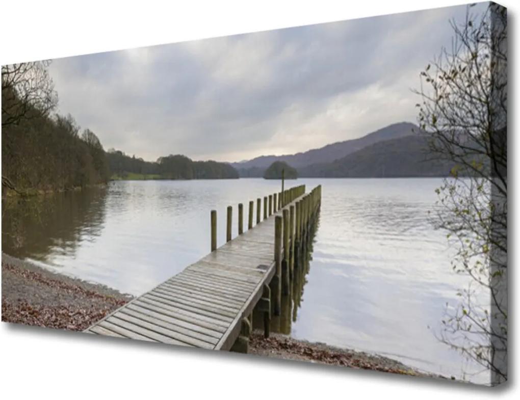 Obraz Canvas Jezero architektura most