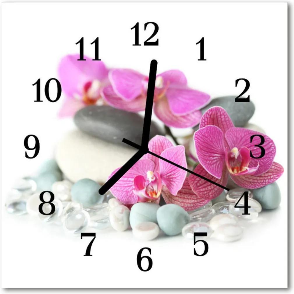 Skleněné hodiny čtvercové orchideje