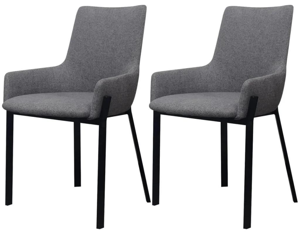Jedálenské stoličky, 2 ks, látkové, svetlo šedá