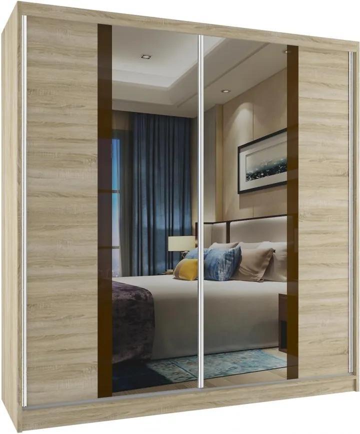 Skriňa so zrkadlom Grimy 158 cm dub sonoma