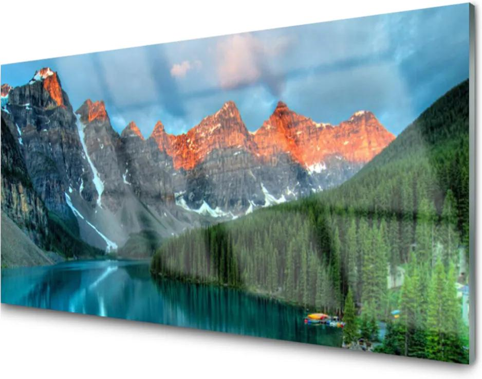 Skleněný obraz Hora les jezero krajina