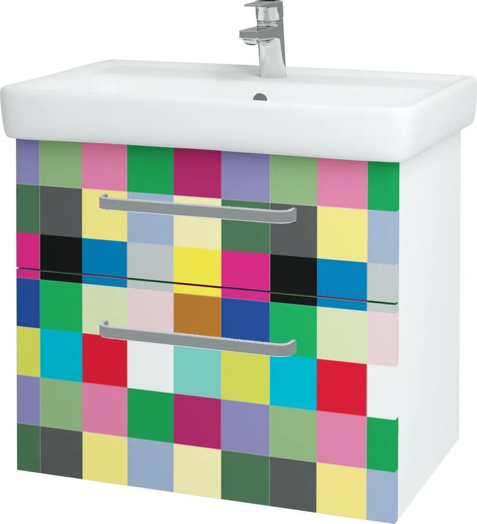 Dřevojas - Koupelnová skříň Q MAX SZZ2 70 - N01 Bílá lesk / Úchytka T01 / IND Individual (61565A)