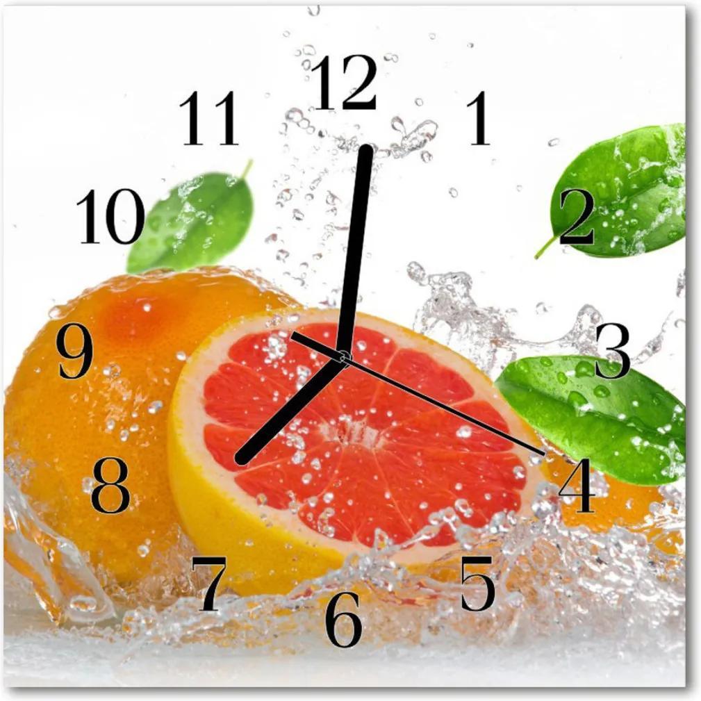 Nástenné skleněné hodiny grapefruit