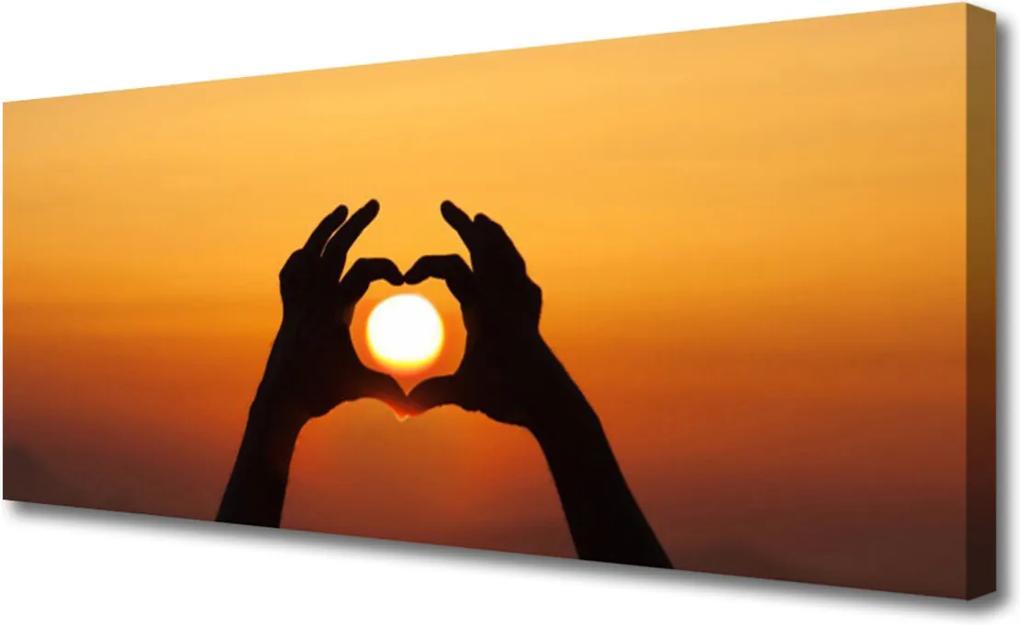 Obraz Canvas Ruky Srdce Slnko Láska