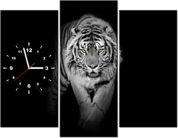 Tlačený obraz s hodinami Nebezpečný tiger v tme 90x70cm ZP2359A_3C
