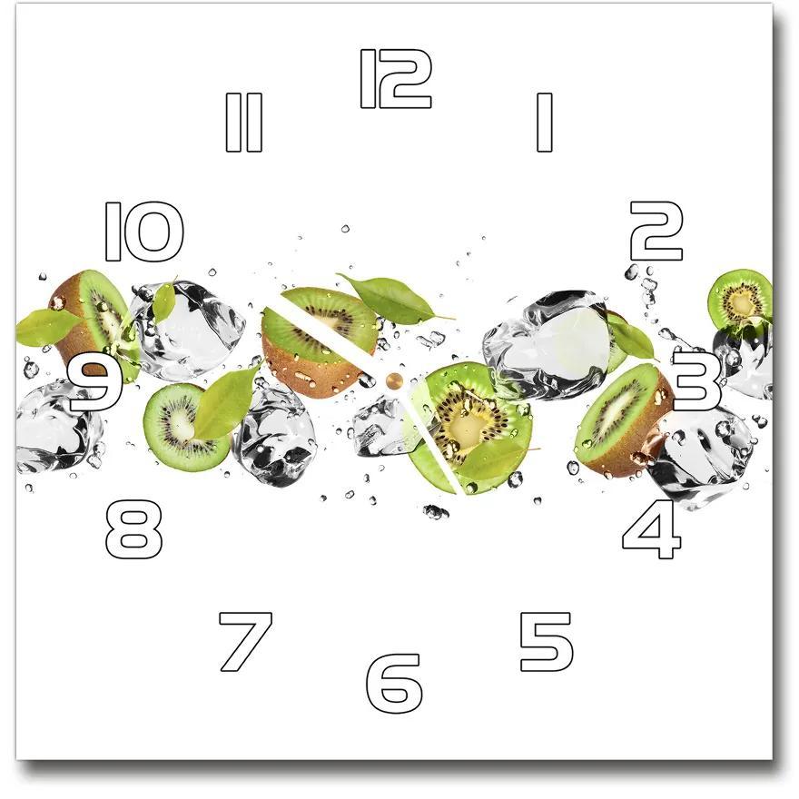 Sklenené hodiny na stenu Kiwi a voda pl_zsk_30x30_f_52519216
