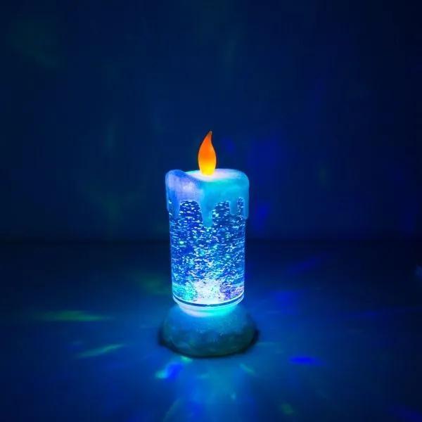Farebná LED sviečka s plávajúcimi trblietkami
