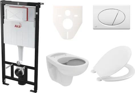 Závesný set WC S-Line PRO rimless, nádržka Alcaplast Sádromodul, tlačidlo biele SIKOASP1