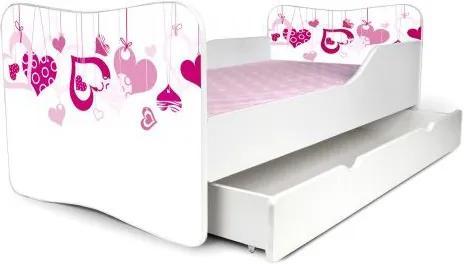 MAXMAX Detská posteľ so zásuvkou SRDIEČKA + matrac ZADARMO 180x80 pre dievča ÁNO