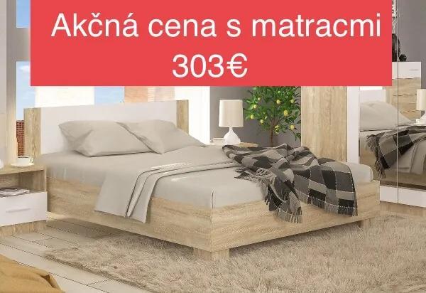 Posteľ Markos + rošt + matrac dub sonoma/biela