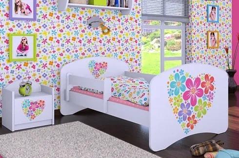 MAXMAX Detská posteľ bez šuplíku 140x70cm KVETINKY v srdiečku