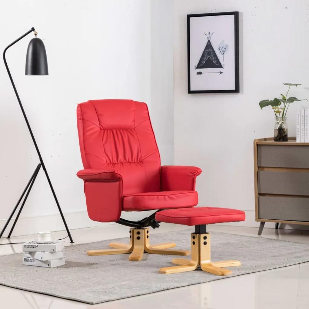 vidaXL Kreslo s podnožkou, červené, umelá koža
