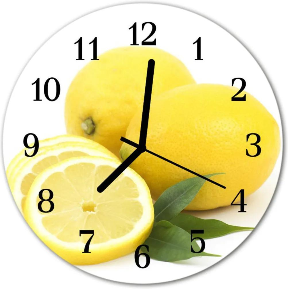 Nástenné sklenené hodiny  citróny
