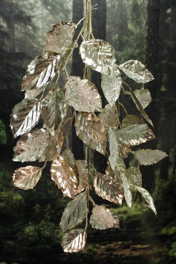 Zlaté svetlé lesklé listy na konári 81cm