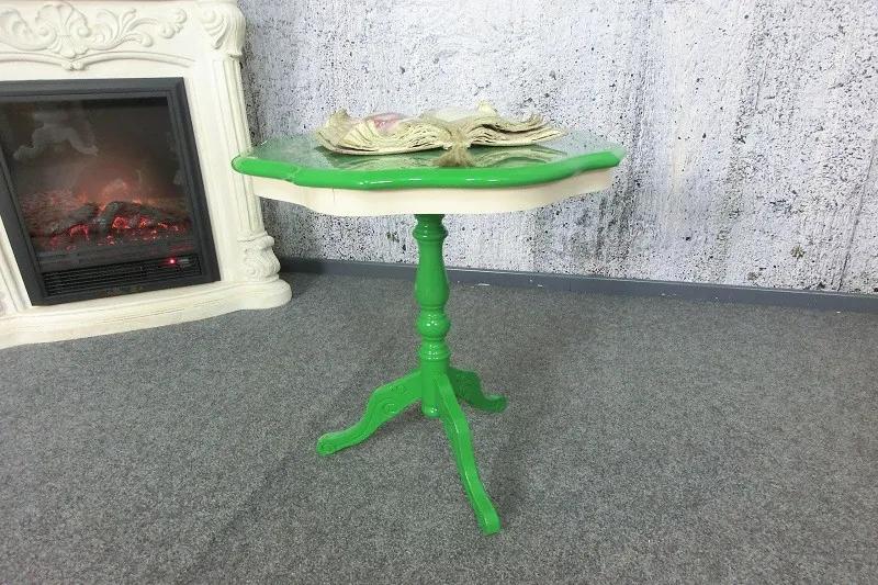 (2799) INTARSIO dobový odkladací stolík zelený