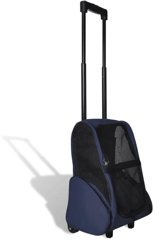 Modrý skladací viacúčelový vozík pre domáce zvieratá
