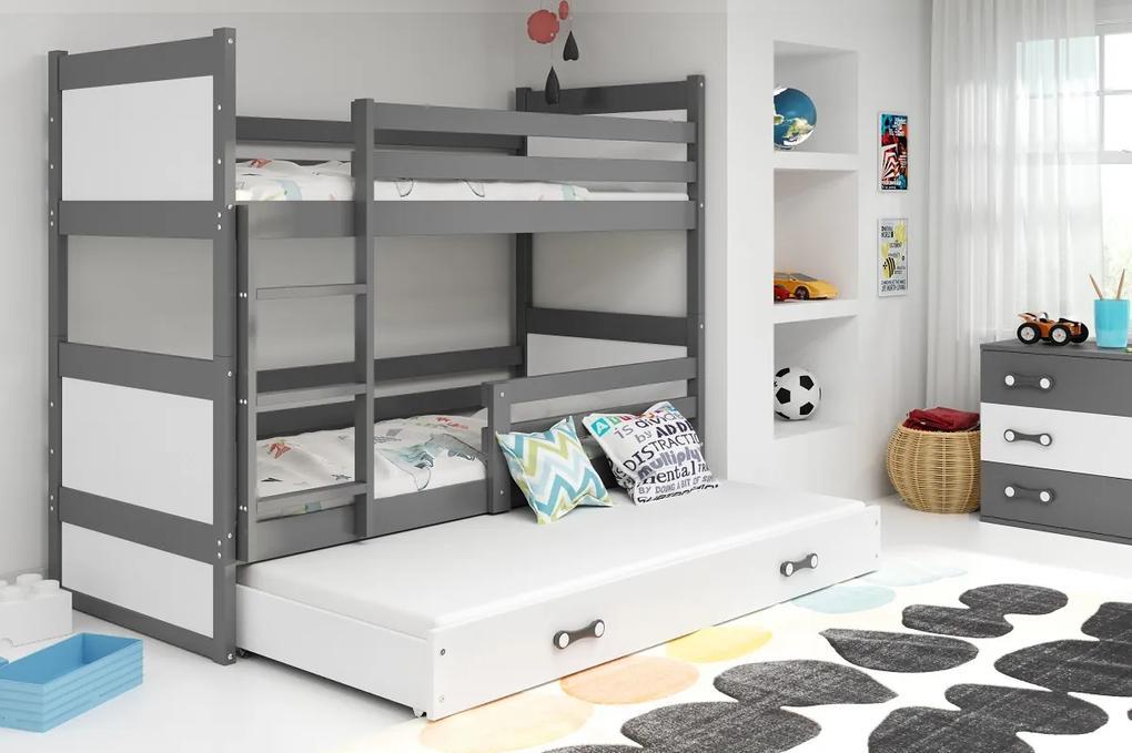BMS Group Poschodová posteľ s prístelkou RICO - s úložným priestorom - pre troch - GRAFIT