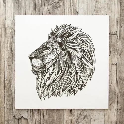 3D drevený gravírovaný obraz na stenu - Lev