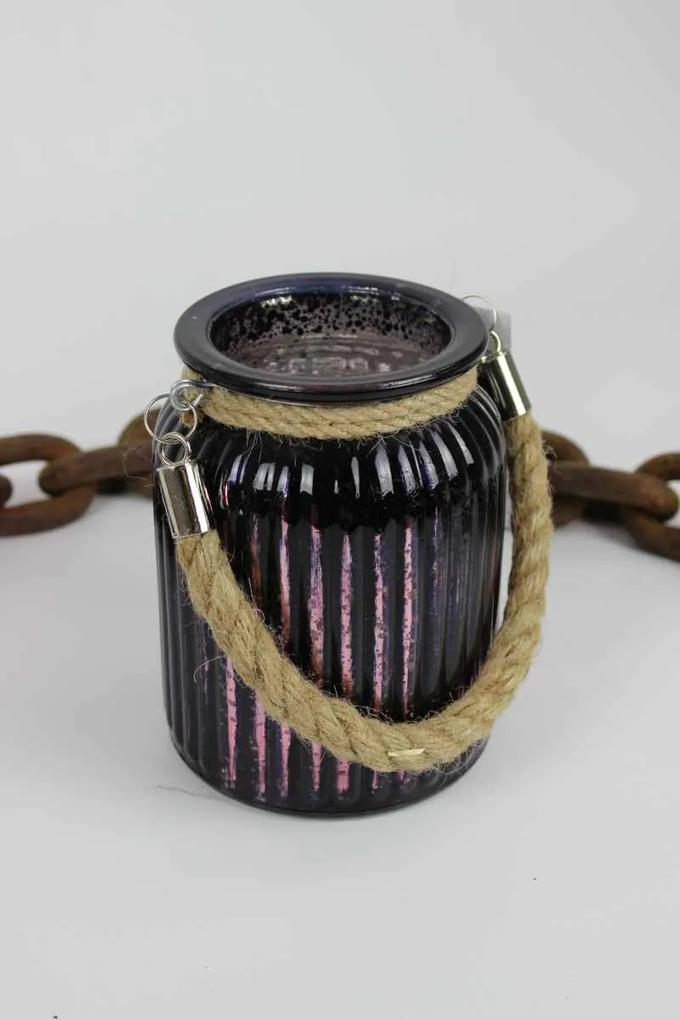 Fialový tmavý sklenený svietnik s lanom 14cm