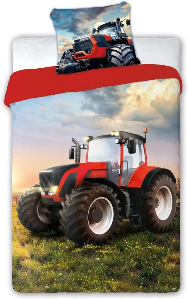 Posteľné bavlnené obliečky s Traktorom 03 140x200 70x90 cm 100% Bavlna Faro
