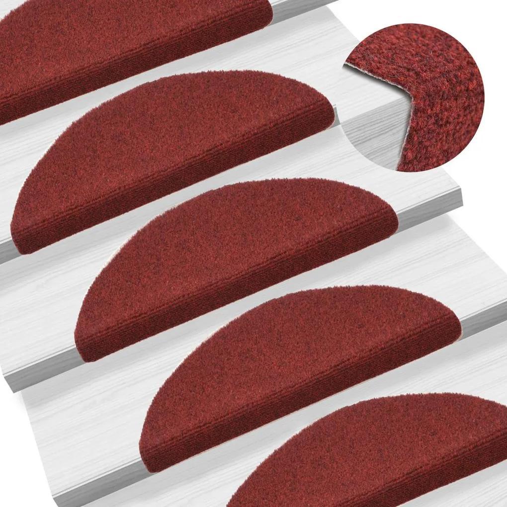 vidaXL Samolepiace kobercové nášľapy na schody 15 ks 56x16x4cm červené