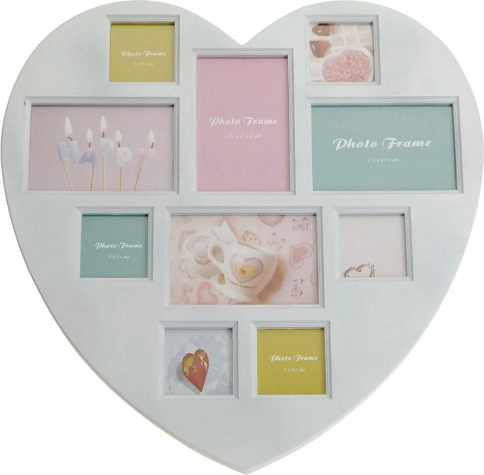 DekorStyle Rámček na stenu - 10 fotografií v tvare srdca - biely