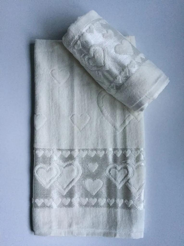 Žakarový froté uterák maslovo biela 50x90cm TiaHome