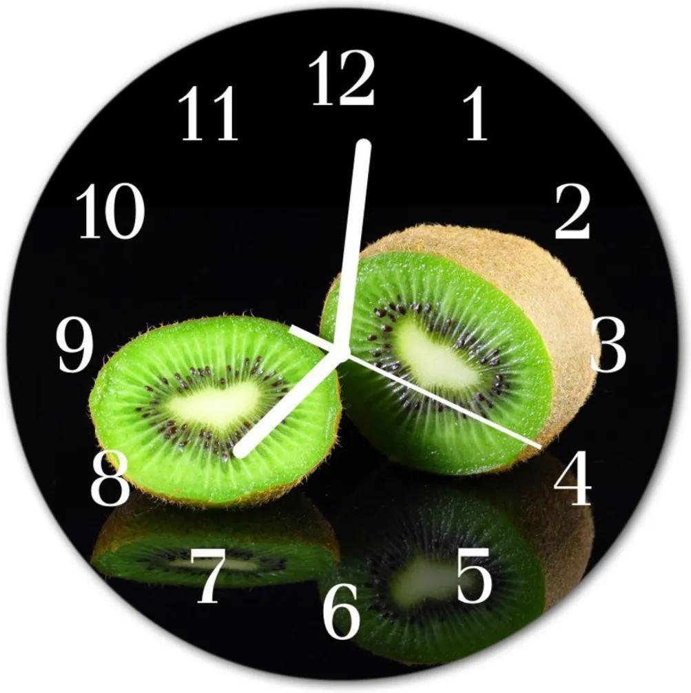 Nástenné skleněné hodiny kiwi