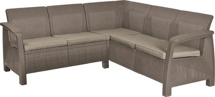 Rohová sofa CORFU RELAX - cappuccino + pieskové podušky