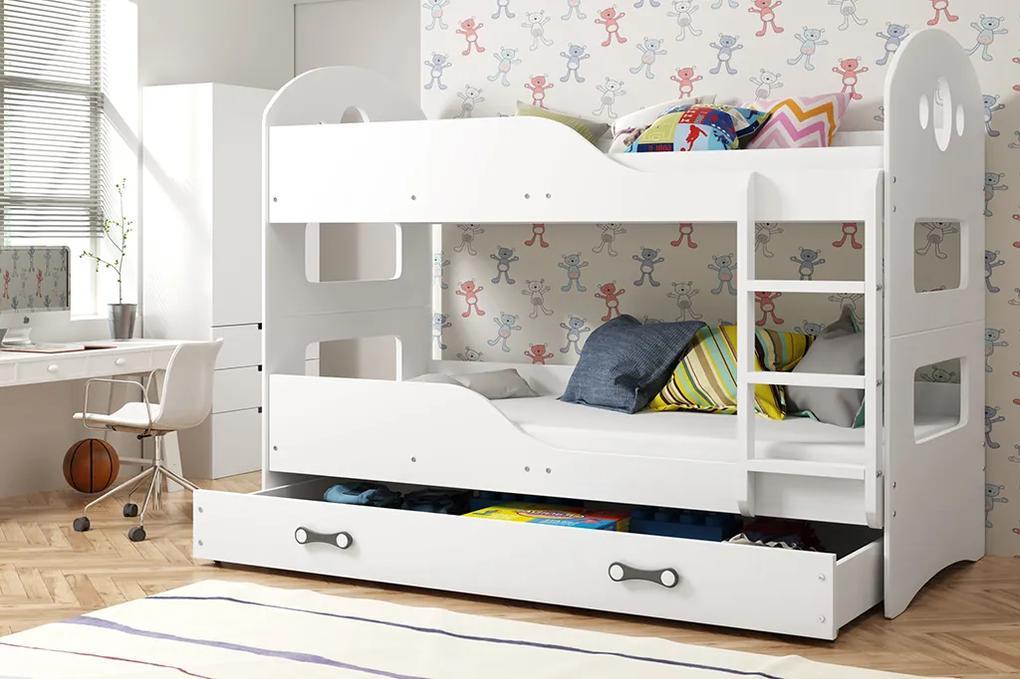 Poschodová posteľ DOMINIK - 200x90cm Biely - Biely