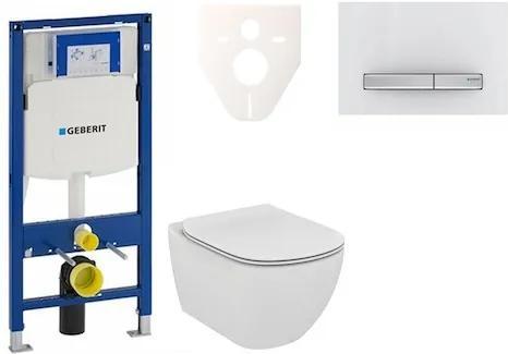 Závesný set WC TESI Rimless + modul Geberit Duofix s tlačidlom Sigma 50 (alpská biela) 111.300.00.5 NE8