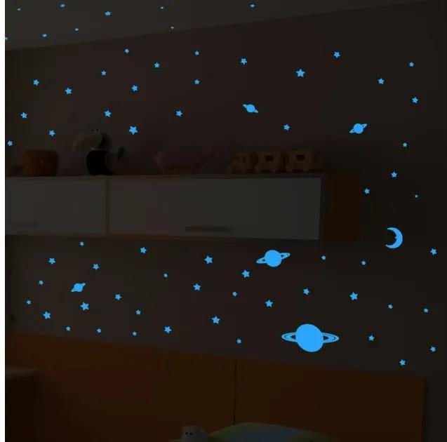 Sada 150 modrých nástenných svietiacach detských samolepiek Ambiance Universe