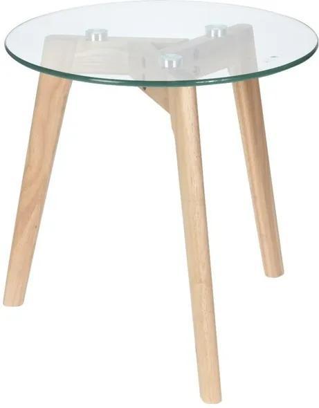 Sconto Prístavný stolík TARA tvrdené sklo/prírodná