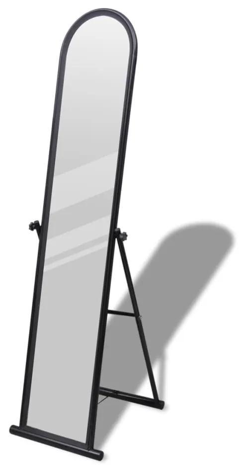 vidaXL Čierne obdĺžnikové stojace zrkadlo