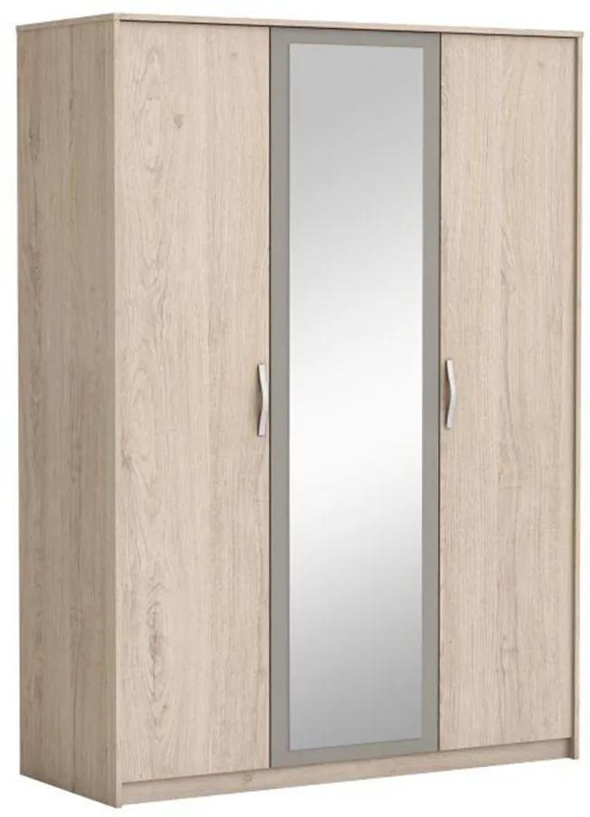 3-dverová skriňa so zrkadlom, dub arizona/sivá, GRAPHIC