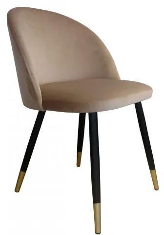 Jedálenská stolička čalúnená Frozen čierno zlaté nohy - 01 Béžová