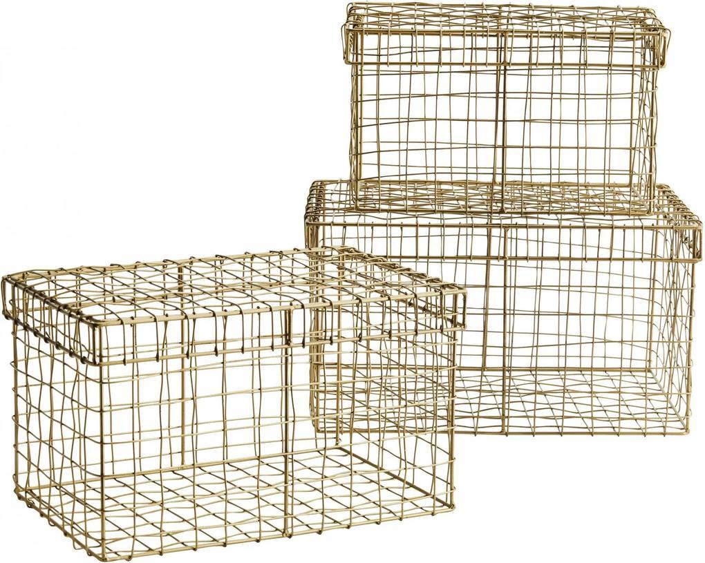 MADAM STOLTZ Drôtený košík s vekom Rectangular Wire Basket Veľkosť L
