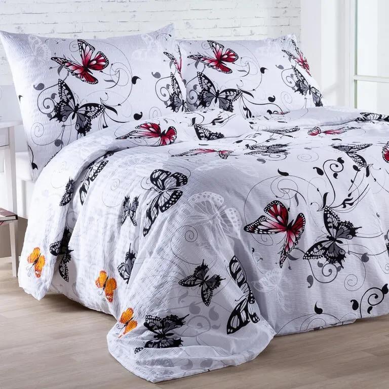 Krepové posteľné obliečky BUTTERFLY biele predĺžená dĺžka