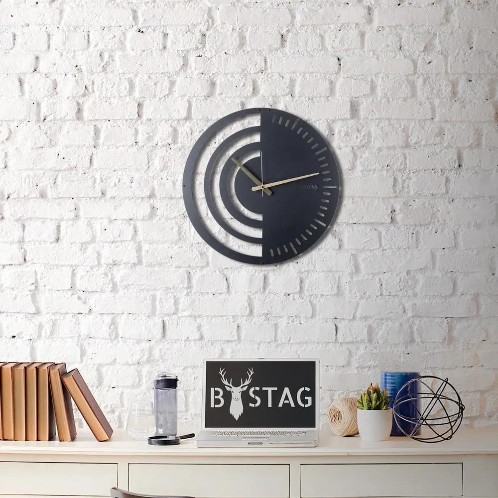 Kovové nástenné hodiny Black, 50 × 50 cm
