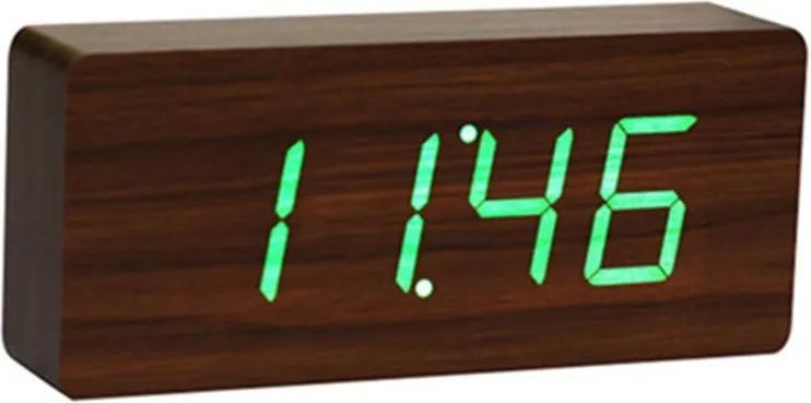 Tmavohnedý budík so zeleným LED displejom Gingko Slab Click Clock