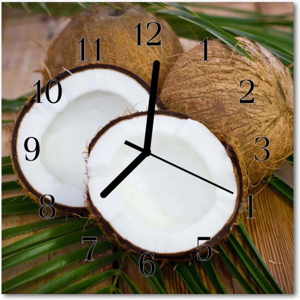 Nástenné skleněné hodiny kokosové ořechy