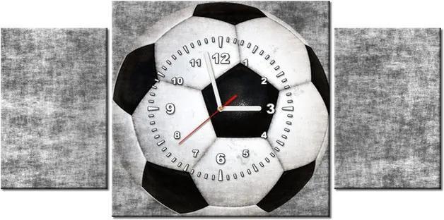 Tlačený obraz s hodinami Futbalová lopta 80x40cm ZP1437A_3AX