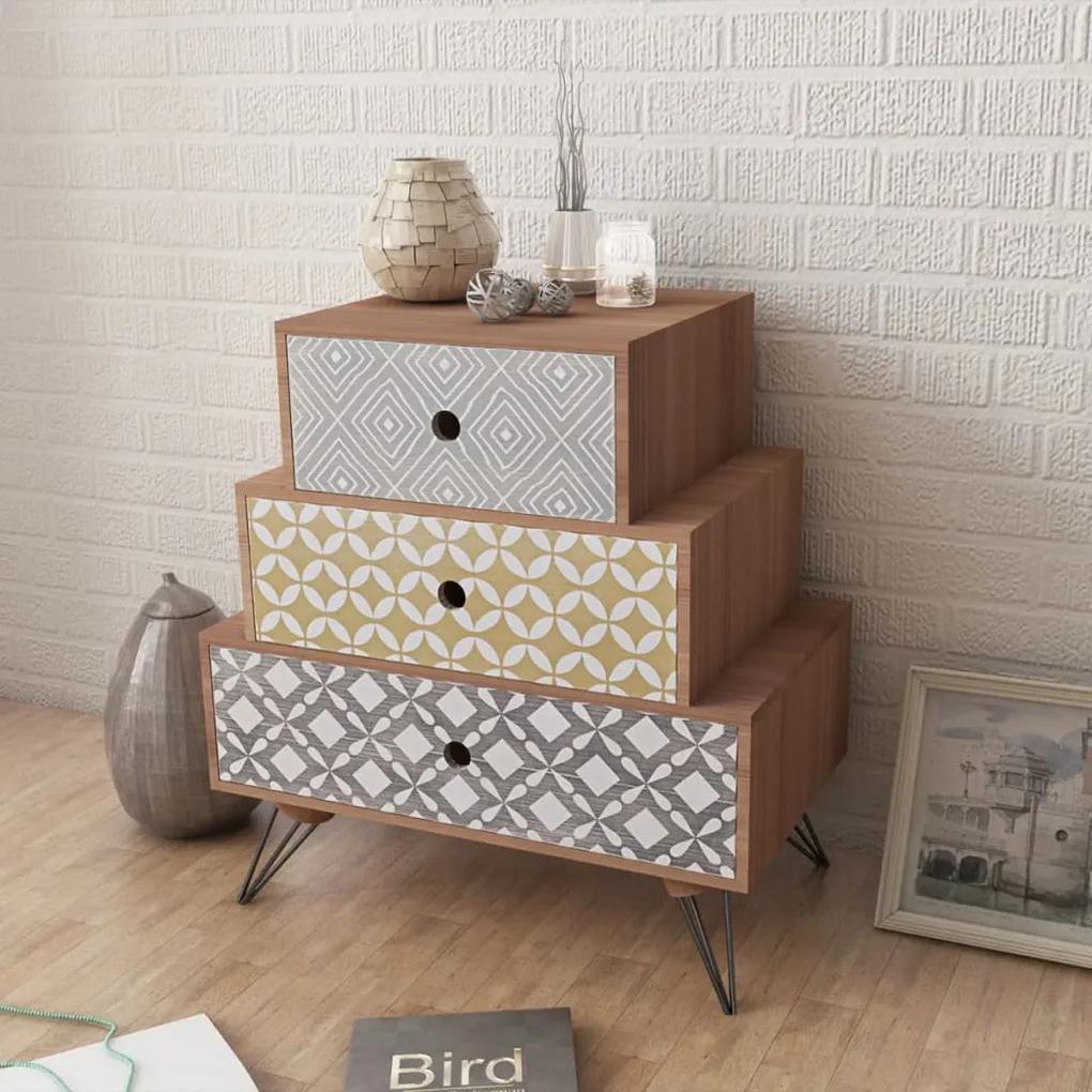 vidaXL Nočný stolík s 3 zásuvkami, hnedý