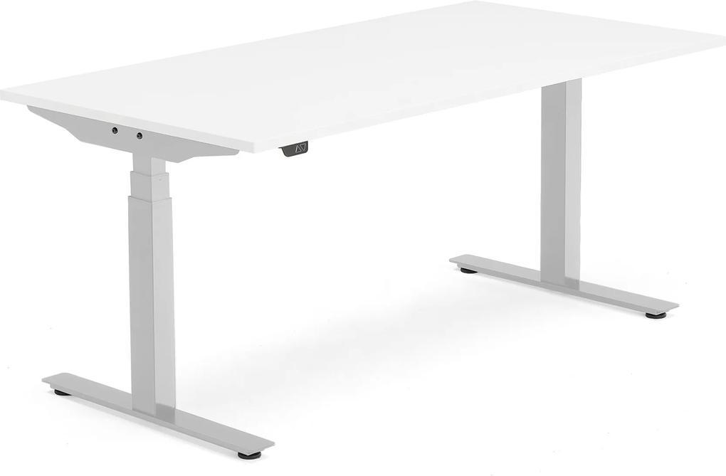 Výškovo nastaviteľný stôl Modulus Smart, 1600x800 mm, strieborná, biela