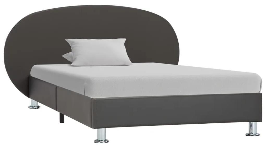 vidaXL Posteľný rám, sivý, umelá koža 90x200 cm
