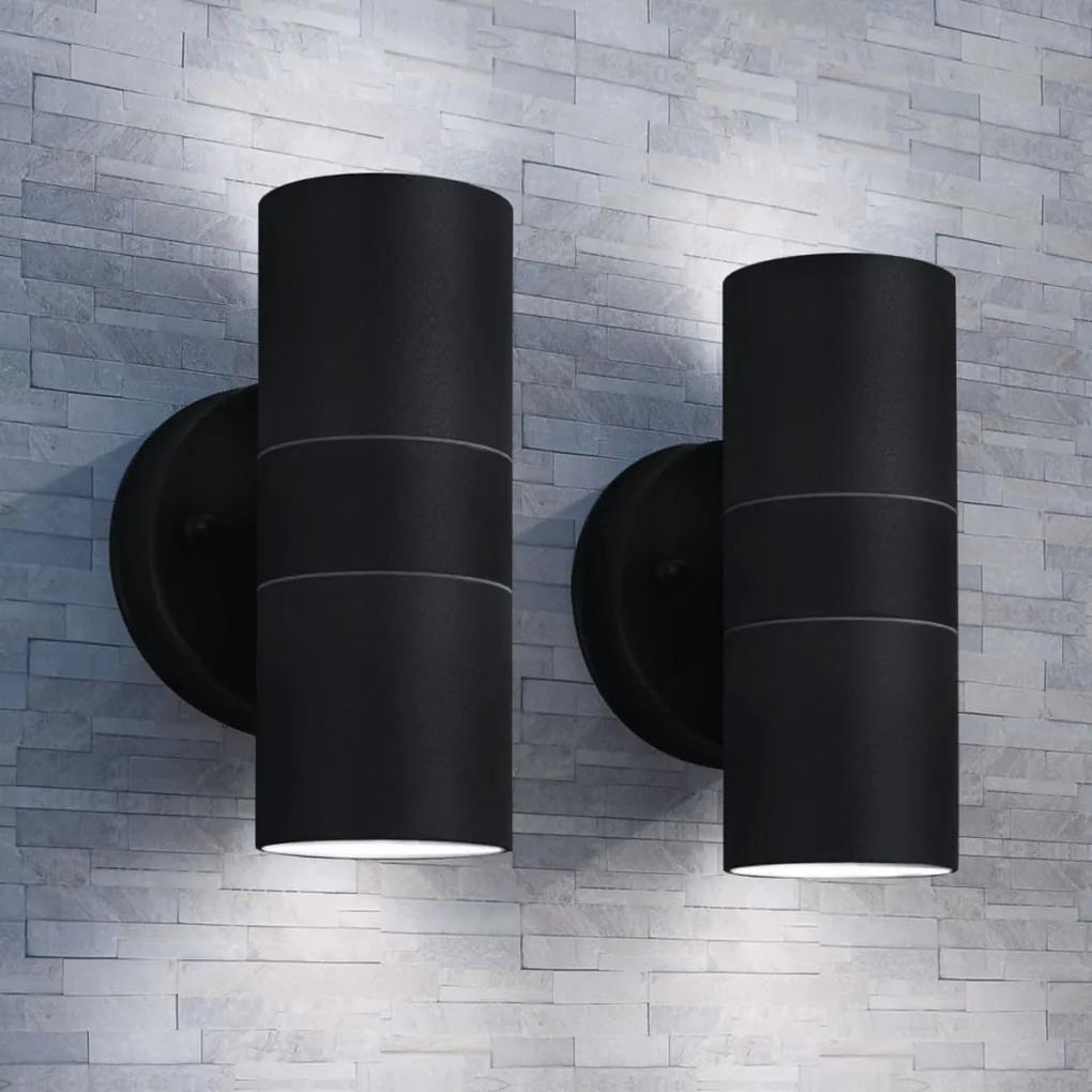vidaXL Vonkajšie nástenné svietidlá, 2 ks, nerezová oceľ, svietenie zhora/zdola