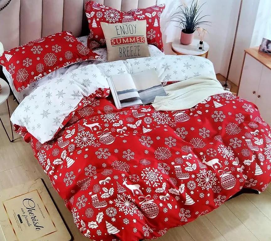 HoD Obliečky Dvojstranné Vianoce Červené Bavlna 40x50 70x90 140x200 cm